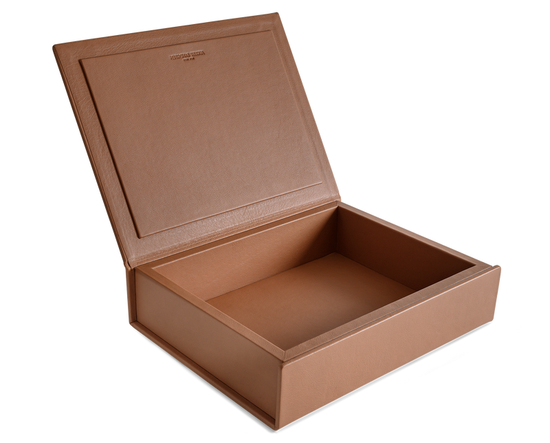 The Bookbox: Cognac Surplus Leather Box - Medium | August Sandgren