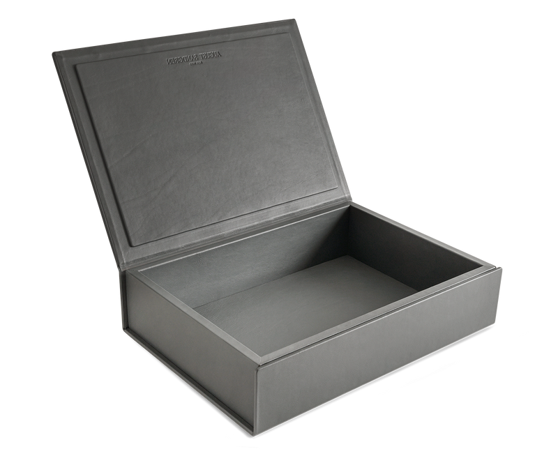 The Bookbox: Grey Surplus Leather Box - Large | August Sandgren