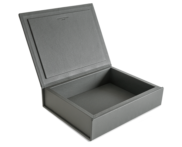 The Bookbox: Grey Surplus Leather Box - Medium | August Sandgren