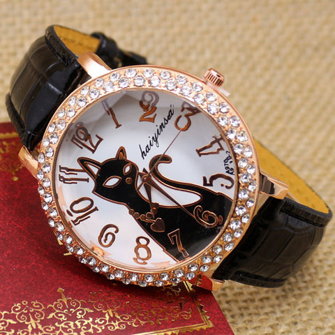 Black Crystal Cat Round Dial Quartz Watch for Women