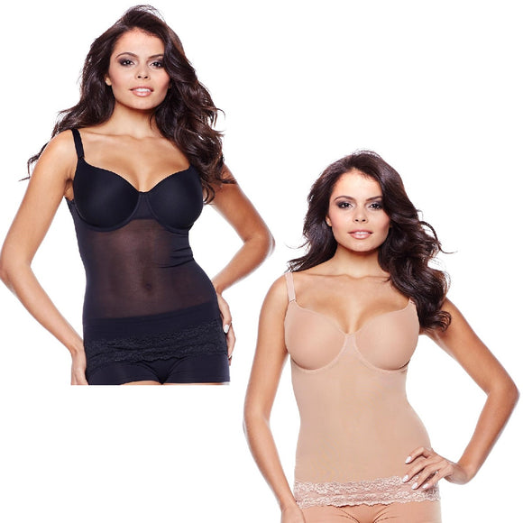 Rhonda Shear Power Mesh Step-In Underwire Cami