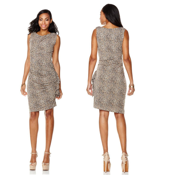 Betsey Johnson Animal Print Draped Dress
