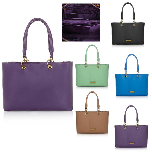 JOY & IMAN Genuine Leather Timeless Chic Everything Tote