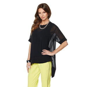 NENE by NeNe Leakes Georgette Top with Cami - M, Black