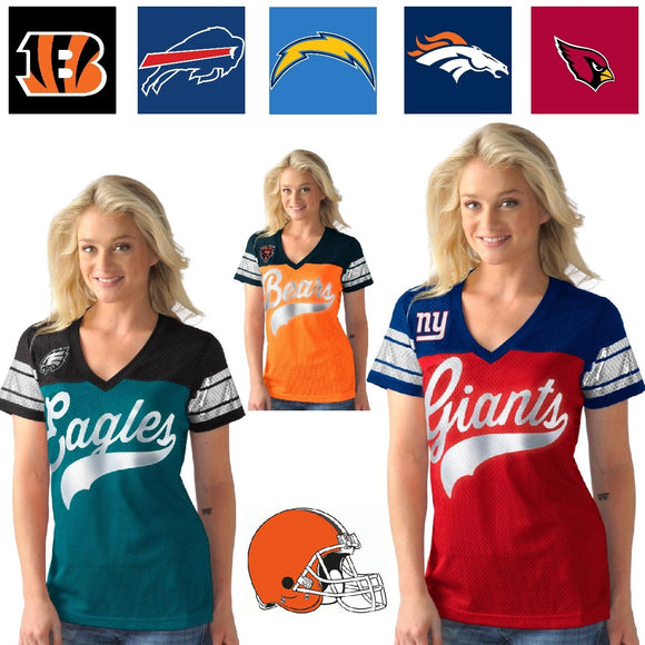 Officially Licensed NFL For Her Pass Rush Jersey Tee by Glll