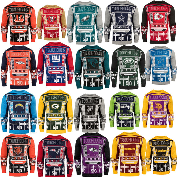 Officially Licensed NFL Light-Up LED Ugly Sweater by Forever Collectibles