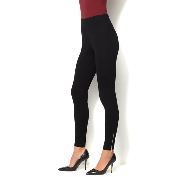IMAN Global Chic Slip Into Slim Perfect Ponte Slimming Legging - XS, Jet Black