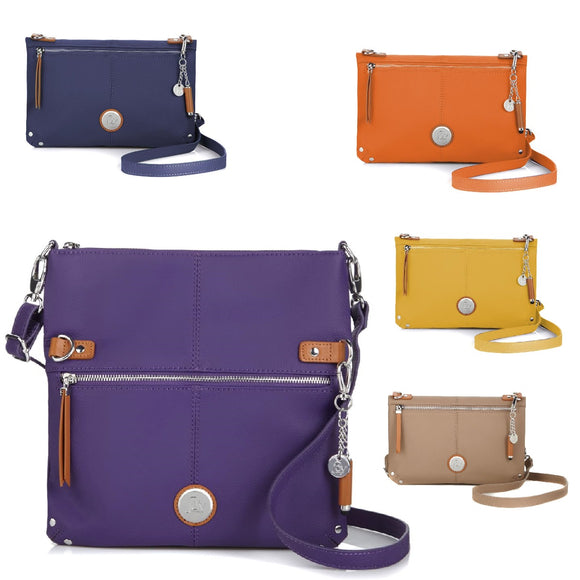 JOY Leather Foldover Crossbody Bag with RFID Protection
