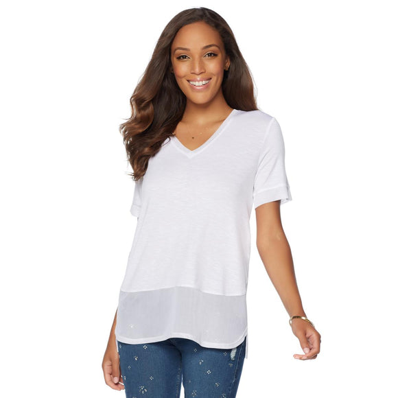 G by Giuliana V-Neck Mesh Tee - 2X, Ivory