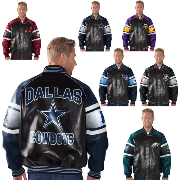 Officially Licensed NFL Faux Leather Varsity Jacket by Glll 553298-556814
