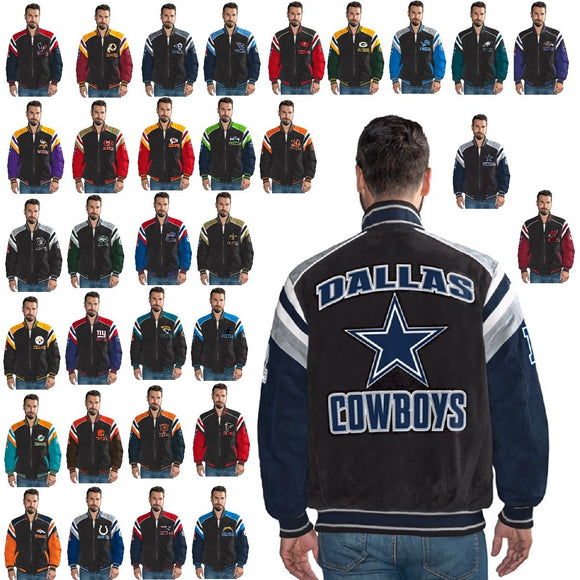 Officially Licensed NFL Men's Suede Jacket ALL TEAMS
