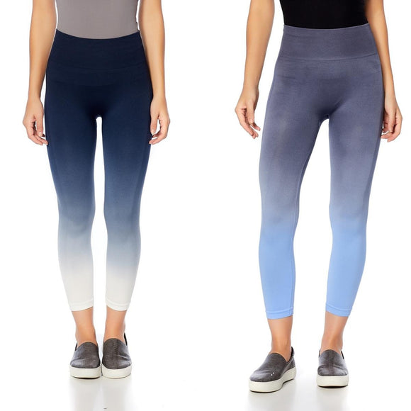 Rhonda Shear Ombre High-Waist Leggings navy ombre and gray ombre