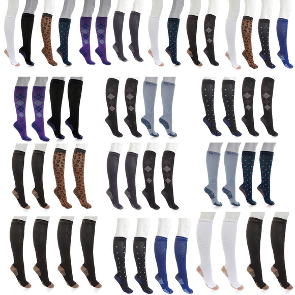 Copper Fit™ Knee-High Compression Socks 4-pack