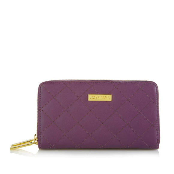 JOY & IMAN Diamond Quilted Genuine Leather Wallet with RFID