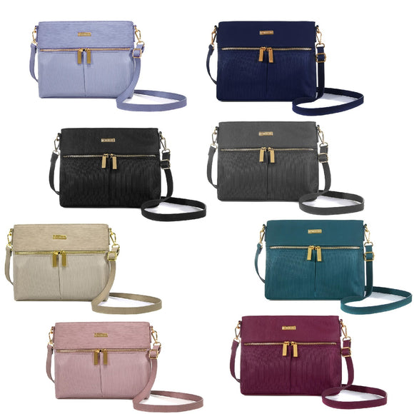 JOY Lightweight Nylon TuffTech Luxury Pinstripe Crossbody with RFID