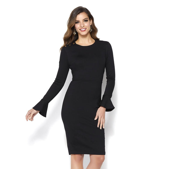 IMAN Global Chic Touch of Gold Power Ponte Bell-Sleeve Dress