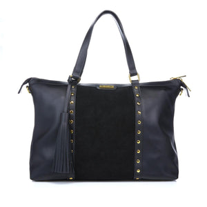 Iman Global Chic Leather & Suede Studded Satchel Black