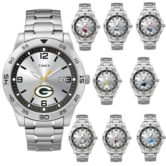 packers cardinals chargers eagles falcons lions panthers seahawks titans silver-tone wrist watch