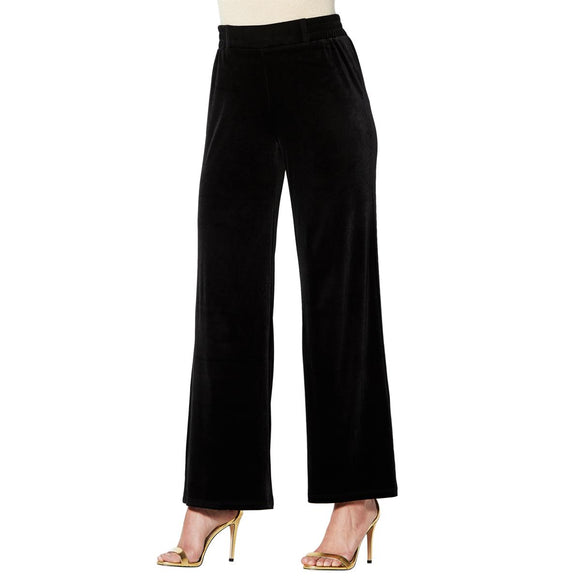 IMAN Global Chic Dressed & Ready Velvet Pull-on Palazzo Pant - XS & S