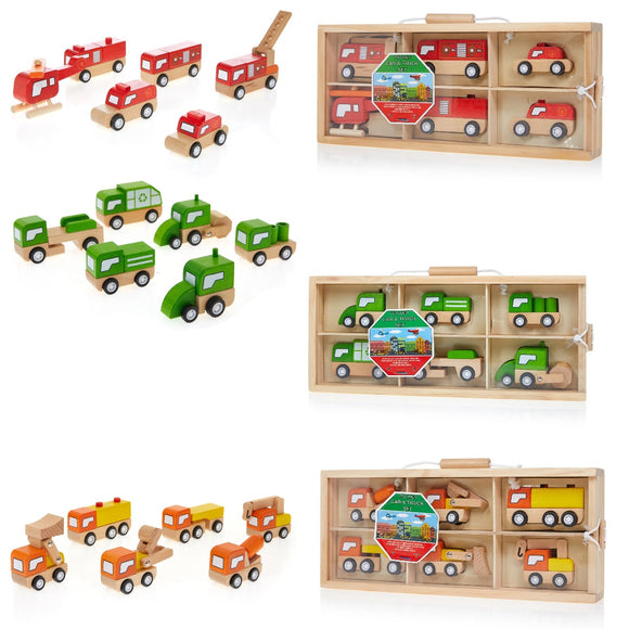 Leading Edge 6pc Wooden Car & Truck Sets