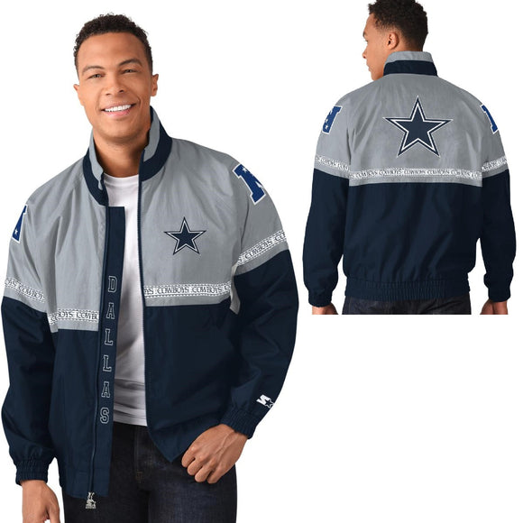 Officially Licensed NFL Starter Academy Full Zip Jacket by Glll -Dallas Cowboys