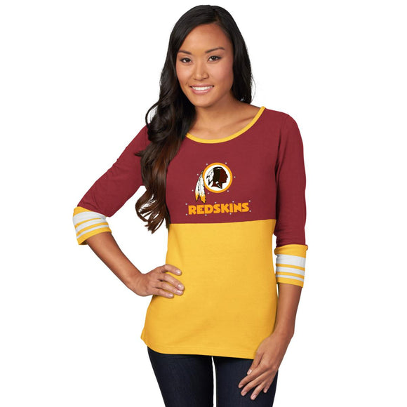 Official NFL For Her Roster Rush Colorblocked 2-Tier Tee - L, Redskins