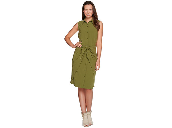 C. Wonder Tie Front Sleeveless Shirt Dress