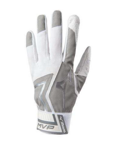Mizuno MVP Batting Gloves (Adult Grey/White)