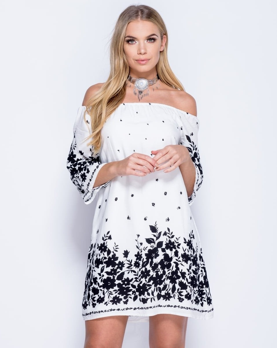Border Print Bardot 3/4 Flare Sleeve Dress