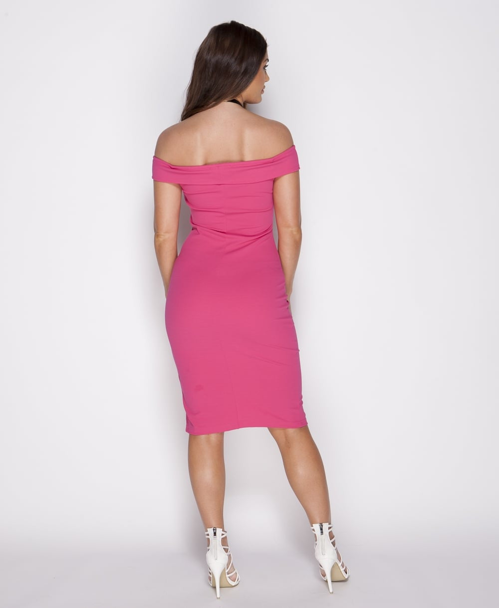 Thigh Split Bodycon Midi Dress In Fuchsia