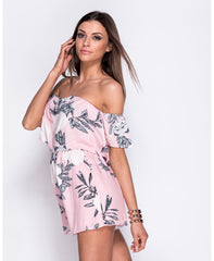 Floral Print Layered Bardot Playsuit