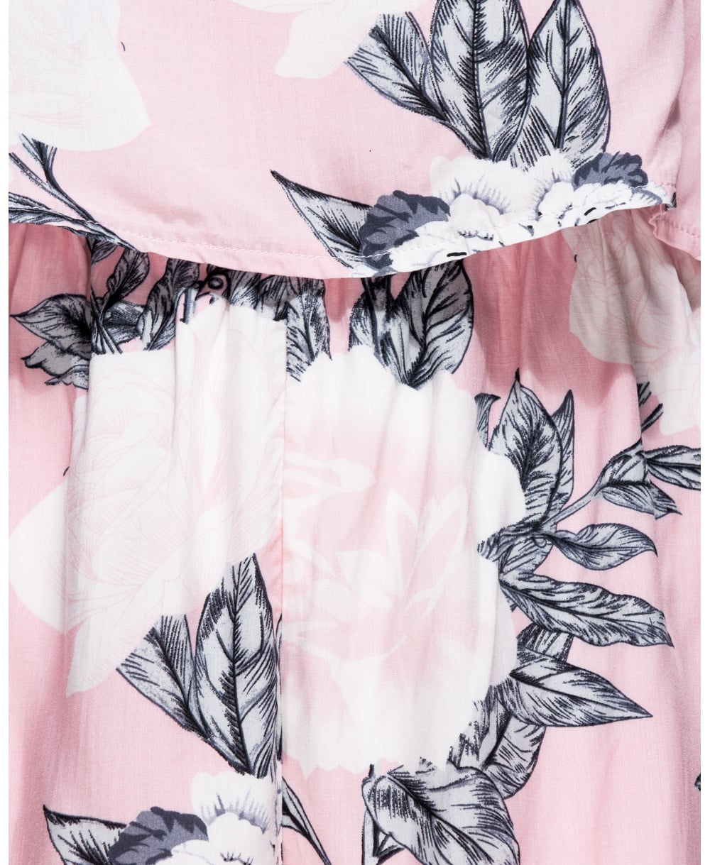 Floral Print Layered Bardot Playsuit in Pink