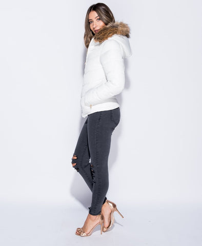 Faux Fur Hooded Puffa Jacket