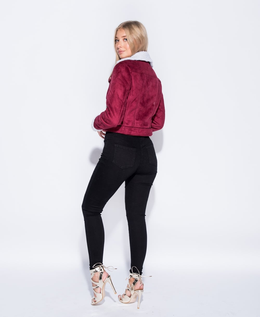Suedette Biker Jacket In Wine