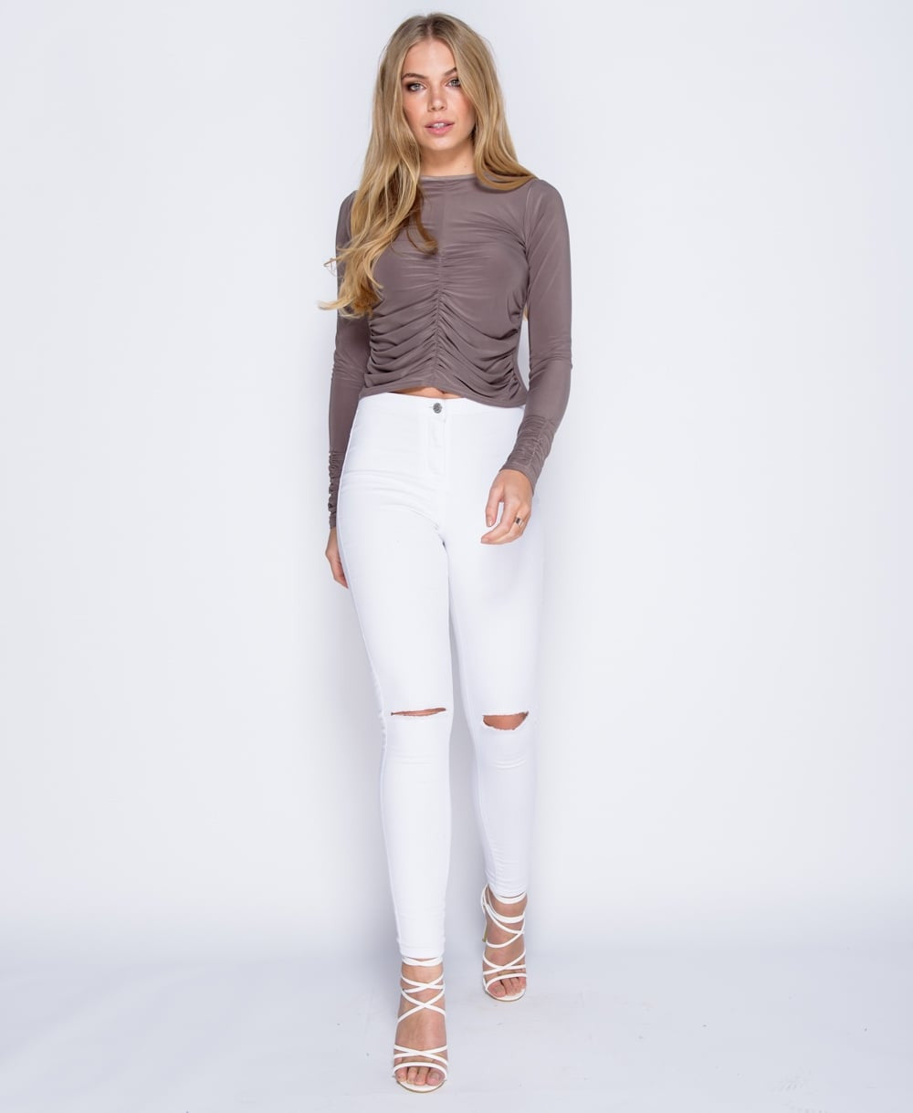 Ruched Front Silk Feel Top in Mink