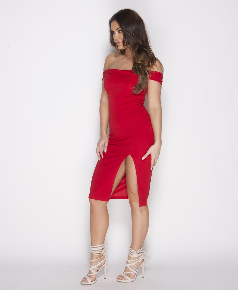 Thigh Split Bodycon Midi Dress