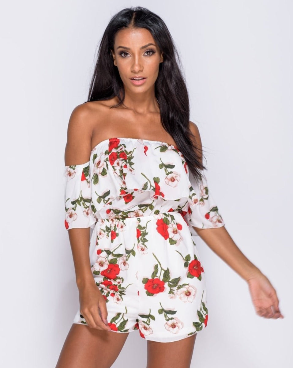 a90ca98249 Floral Print Frill Detail Bardot Playsuit – Aubyn Rose