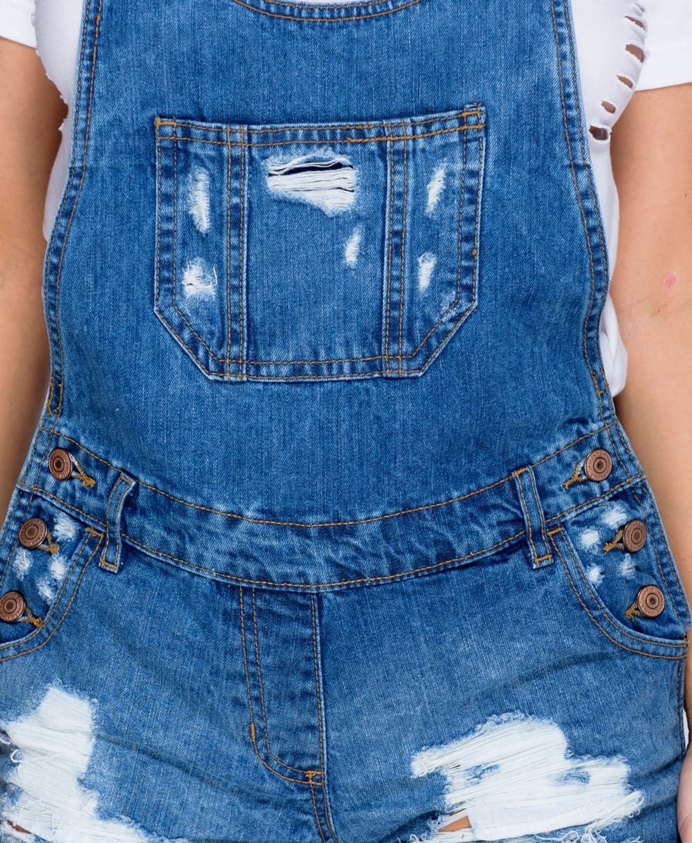 Large Rip Bib Pocket Front Denim Dungarees In Dark Blue