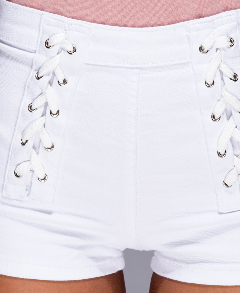 White High Waist Lace Detail Denim Hotpants