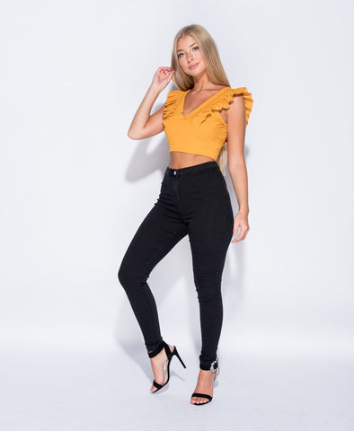 Frill Sleeve Crop In Mustard