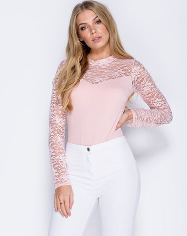 Lace Detail Full Sleeve Bodysuit In Nude