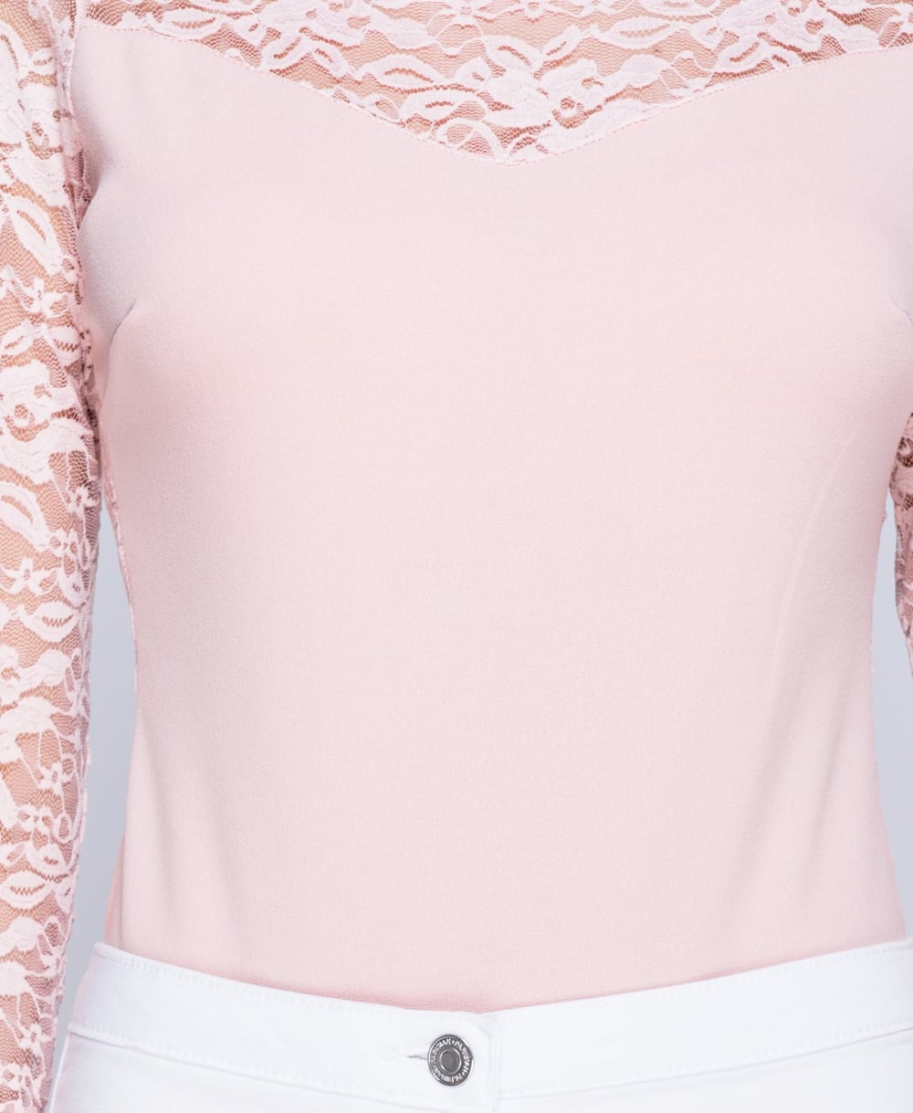Lace Detail Long Sleeve Bodysuit In Pink