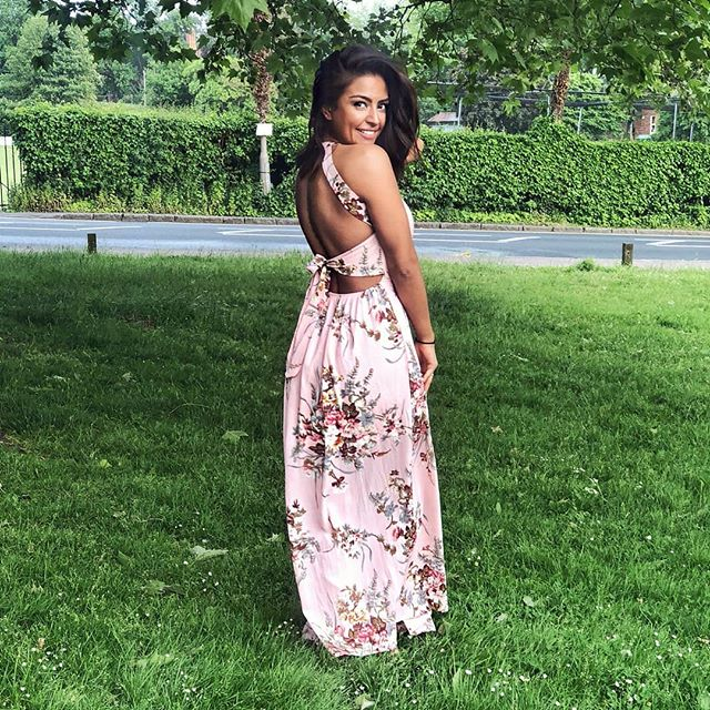 Parisian Floral Maxi Dress in Pink