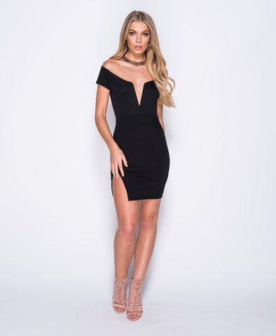 V Neck Bardot Bodycon Dress