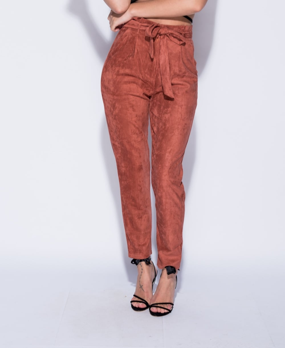 Suedette Paper Bag Waist Trouser In Rust