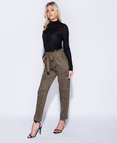 Suedette Paper Bag Waist Trouser In Khaki