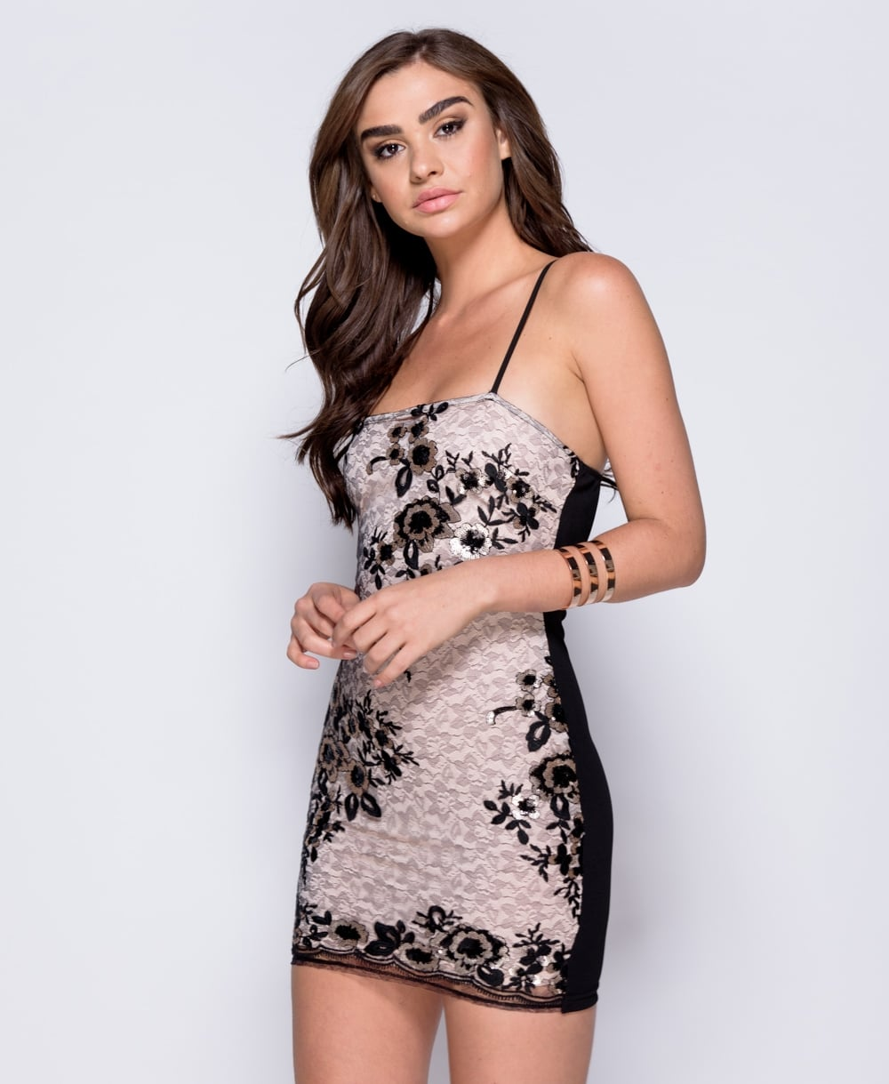 Parisian Black & Pink Sequin Lace Mix Bodycon Mini Dress
