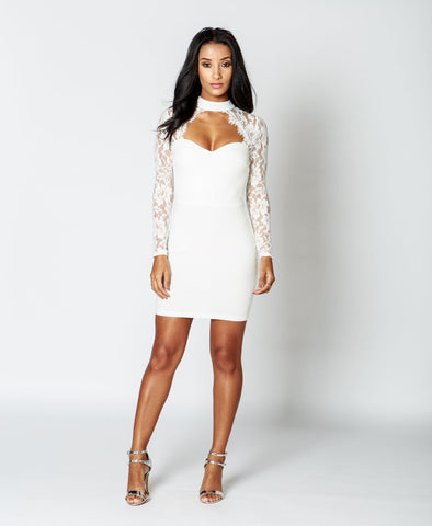 Lace Choker Bodycon Dress In White