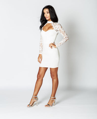 Parisian Lace Choker Bodycon Dress In White