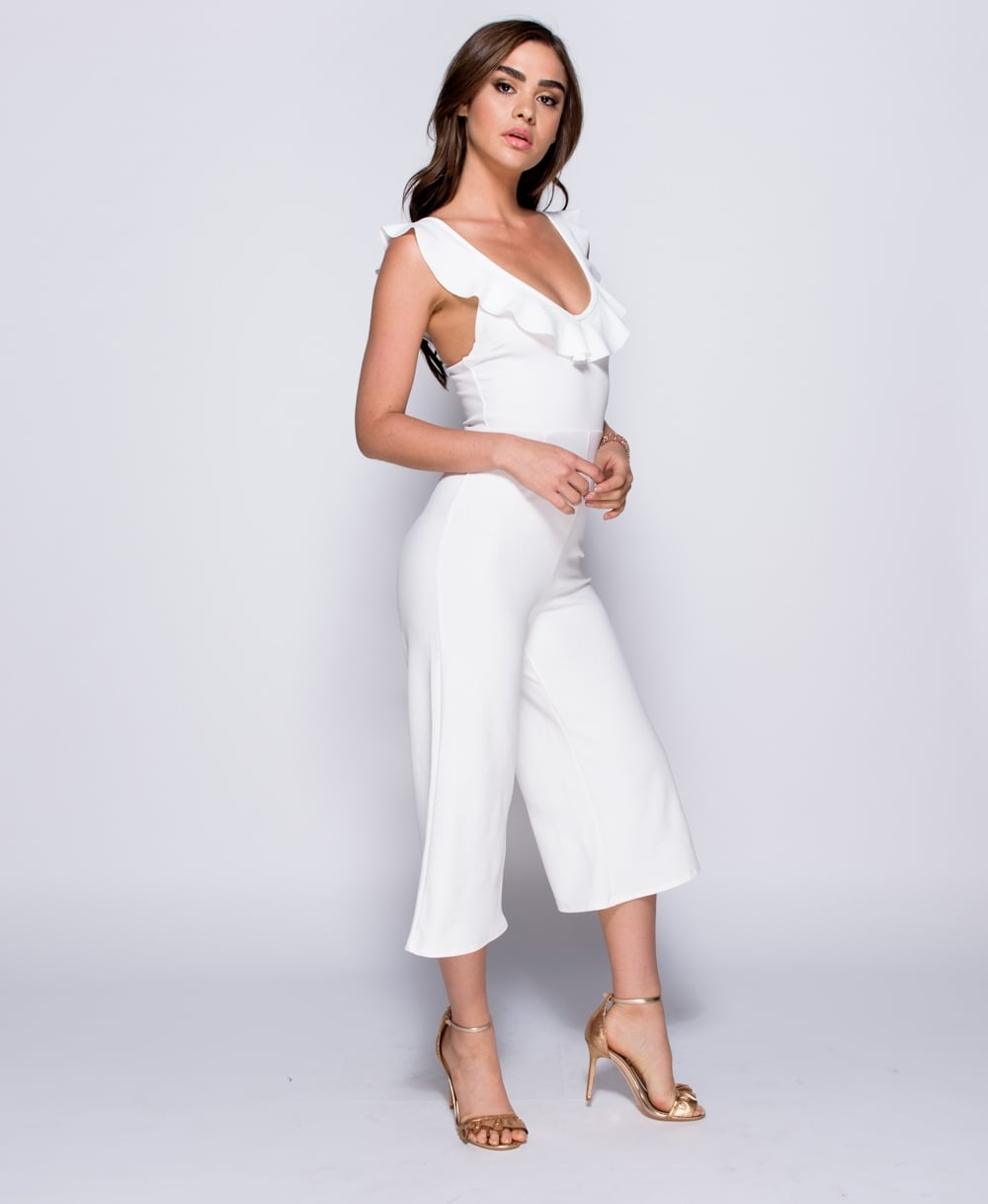 Frill Detail Strappy Cropped Jumpsuit in White